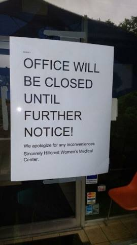 Hillcrest closed sign 2017