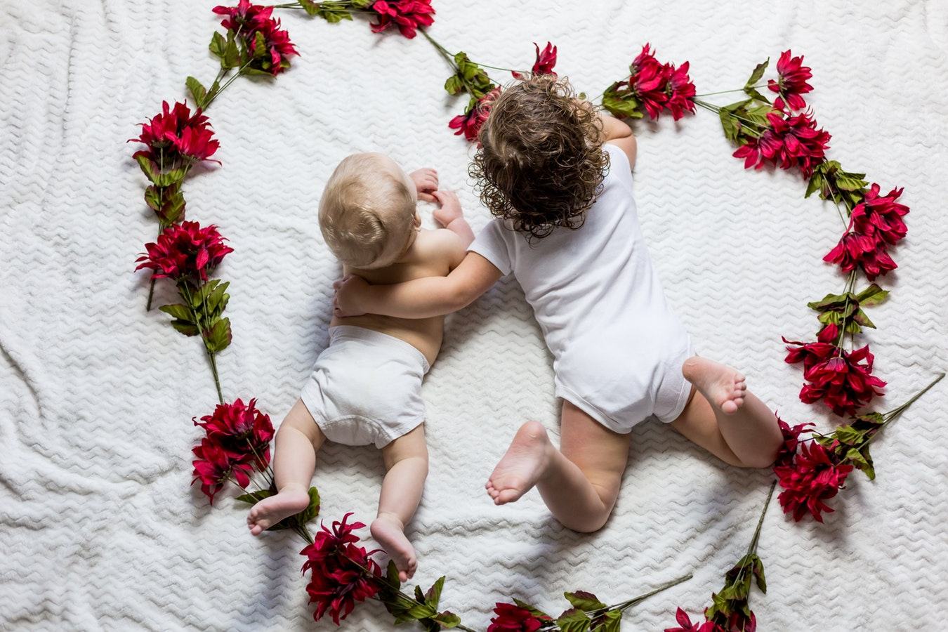 Babies with flowers